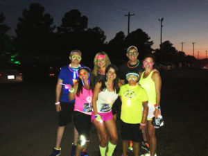 Paula Smith and friends running at night